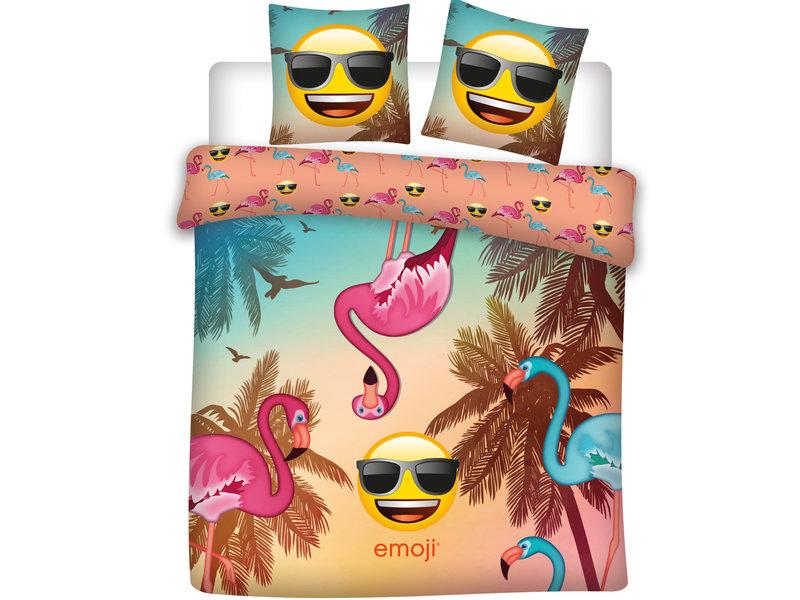 Emoji Flamingo - Dekbedovertrek - Lits Jumeaux - 240 x 220 cm - Multi