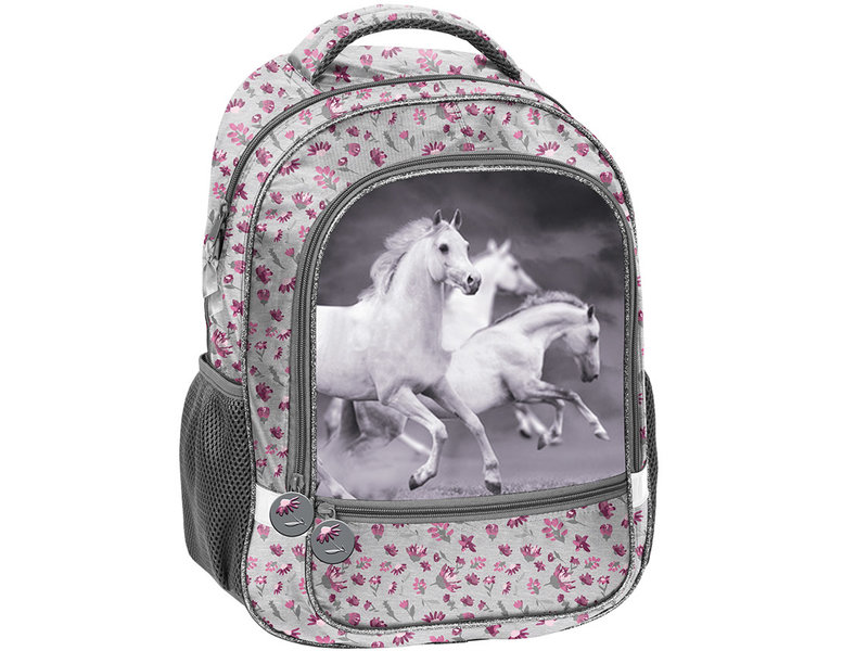Animal Pictures White Horses - Backpack - 43 x 30 x 20 cm - Gray