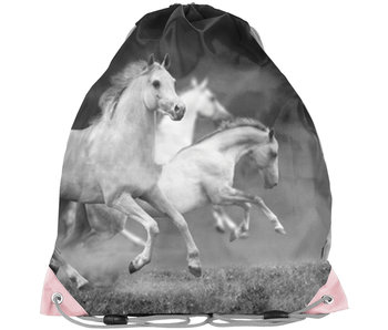 Animal Pictures White Horses Gymbag 38cm