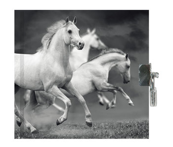 Animal Pictures Diary White Horses 13.5x13cm including lock
