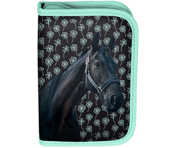 Animal Pictures Black Horse Filled Pouch 19.5 cm