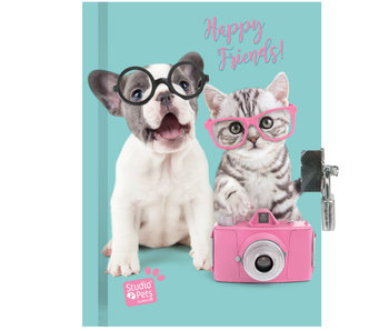 Studio Pets Journal Happy Friends 15 x 20 cm avec serrure