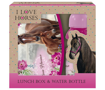 Animal Pictures Lunchbox + Bottle Horse and Foal set
