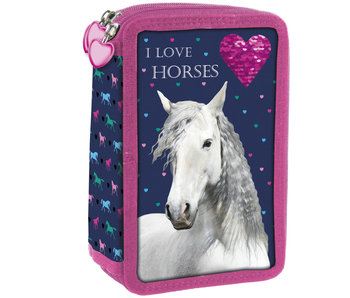 Animal Pictures Filled pouch I Love Horses