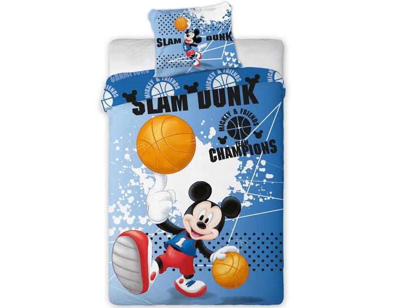 Disney Mickey Mouse Slam Dunk -Dekbedovertrek - Eenpersoons -  140 x 200 cm - Blauw