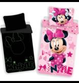 Disney Minnie Mouse Glow in the Dark - Housse de couette - Seul - 140 x 200 cm - Rose