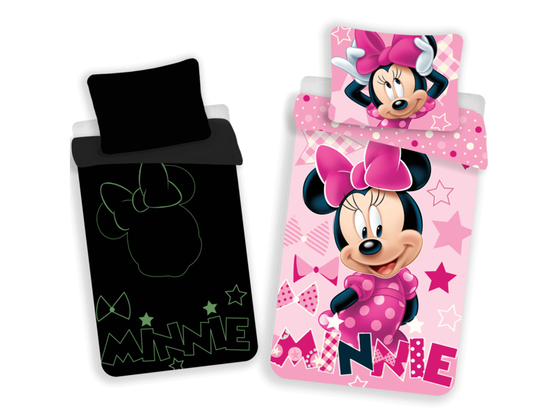 Disney Minnie Mouse Glow in the Dark - Duvet cover - Single - 140 x 200 cm - Pink