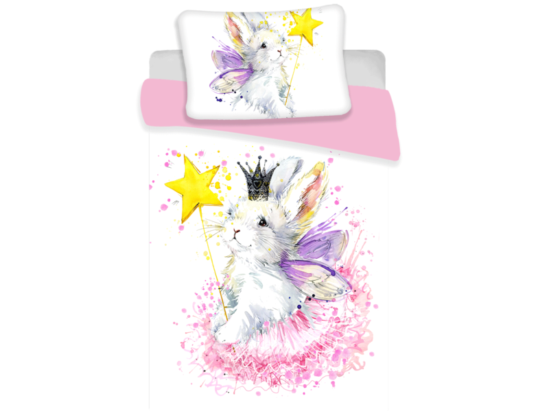 Animal Pictures Bunny White - Baby Dekbedovertrek - 100 x 135 cm - Multi