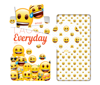 Emoji Laugh Every Day - Duvet cover - Single - 140 x 200 cm - Multi - Including fitted sheet