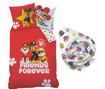 PAW Patrol Trio - Bettbezug - Single - 140 x 200 cm - Multi - Inklusive Spannbetttuch