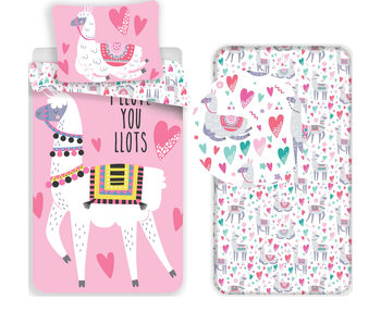 Lama Love - Duvet cover - Single - 140 x 200 cm - Multi - Including fitted sheet