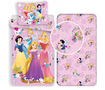 Disney Princess Pink - Bettbezug - Single - 140 x 200 cm - Multi - Inklusive Spannbetttuch