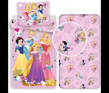 Disney Princess Pink - Dekbedovertrek - Eenpersoons - 140 x 200 cm - Multi - Inclusief hoeslaken