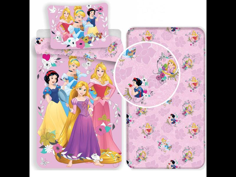 Disney Princess Pink - Dekbedovertrek - Eenpersoons - 140 x 200 cm - Roze - Inclusief hoeslaken
