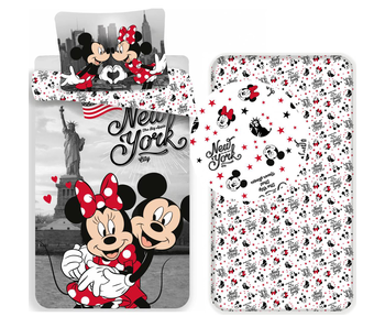 Disney Minnie Mouse New York - Bettbezug - Single - 140 x 200 cm - Multi - Inklusive Spannbetttuch