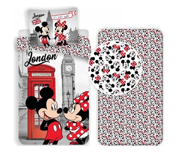 Disney Minnie Mouse London - Bettbezug - Single - 140 x 200 cm - Multi - Inklusive Spannbetttuch