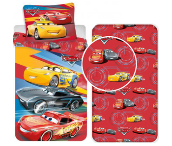 Disney Cars Red - Duvet cover - Single - 140 x 200 cm - Multi - Including fitted sheet