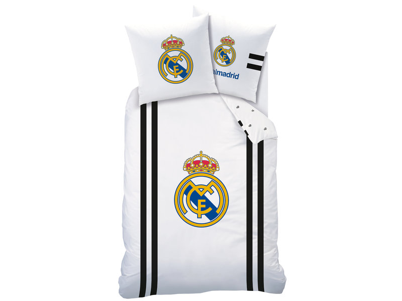 Real Madrid Maillot Housse de couette - Simple - 140 x 200 cm - Blanc