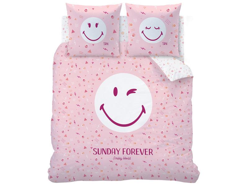 Smiley World Housse de couette Sunday - Double - 240 x 220 cm - Rose