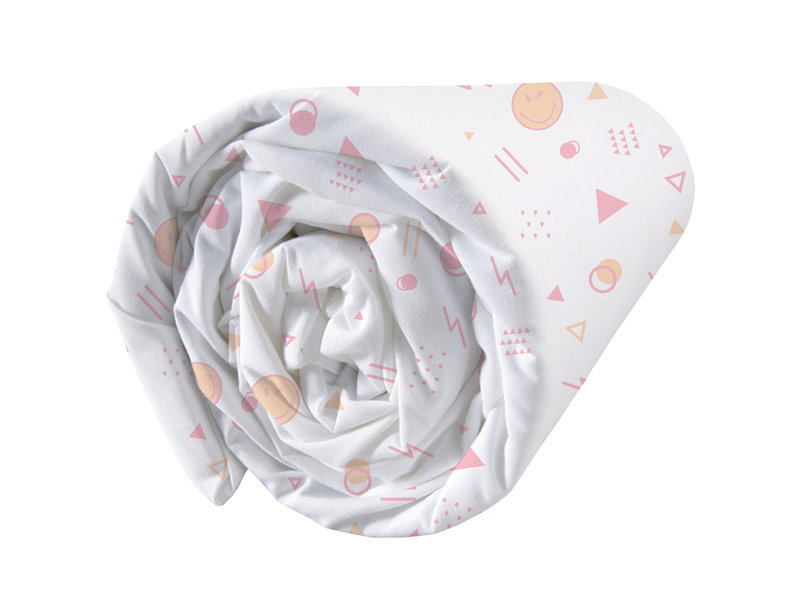 Smiley World Sunday Fitted Sheet - Double - 140 x 200 cm - White