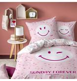 Smiley World Housse de couette Sunday - Simple - 140 x 200 cm - Rose