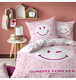 Smiley World Sunday Duvet cover - Single - 140 x 200 cm - Pink