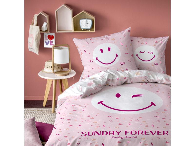 Smiley World Sunday Dekbedovertrek - Eenpersoons - 140 x 200 cm - Roze