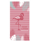 American College Flamingo - Strandlaken - 75 x 150 cm - Roze