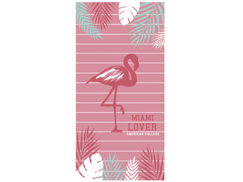 American College Flamingo - Beach towel - 75 x 150 cm - Pink