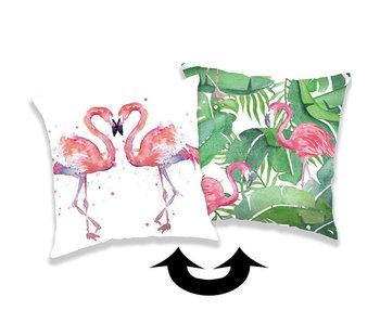 Flamingo Taie d'oreiller paillettes 40 x 40 cm