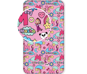 Masha en de Beer Fitted sheet M is for Masha 90 x 200 cm