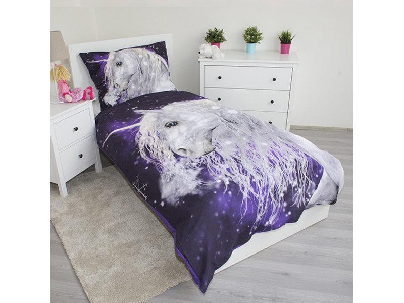 Unicorn Einhorn - Bettbezug - Einzel - 140 x 200 cm - Lila
