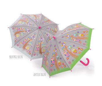 Floss & Rock Farbwechsel Regenschirm Eulen und Bäume