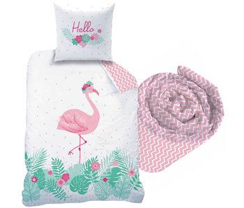 Matt & Rose Flamingo  - Dekbedovertrek - Eenpersoons - 140 x 200 cm - Multi - Inclusief hoeslaken