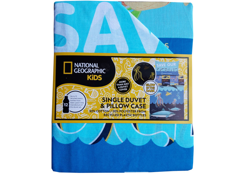 National Geographic Save our Oceans - Dekbedovertrek - Eenpersoons - Polycotton