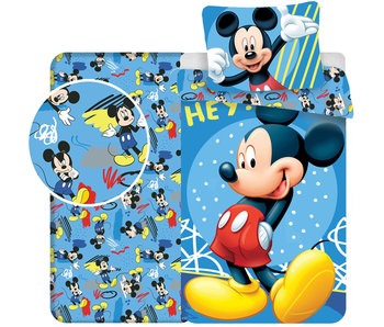 Disney Mickey Mouse Hey - Duvet cover - Single - 140 x 200 cm - Blue - Including fitted sheet