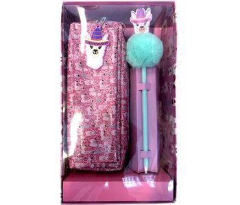 Lama Pochette de 21 cm avec stylo - Coffret cadeau
