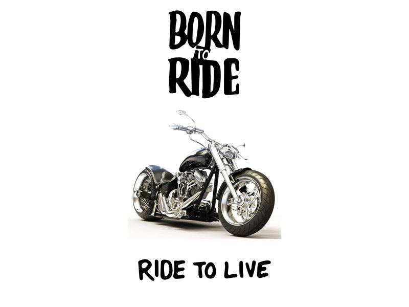 Motor Born to Ride Strandlaken - 70 x 140 cm - Wit