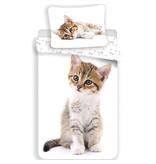 Animal Pictures Kitten Dekbedovertrek - Eenpersoons - 140  x 200 cm - Wit