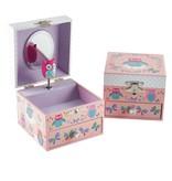 Floss & Rock Owls - Boîte à bijoux - 10,5 x 10,5 x 8,5 cm - Rose