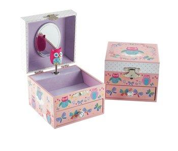 Floss & Rock Boîte à bijoux hiboux - 10,5 x 10,5 x 8,5 cm