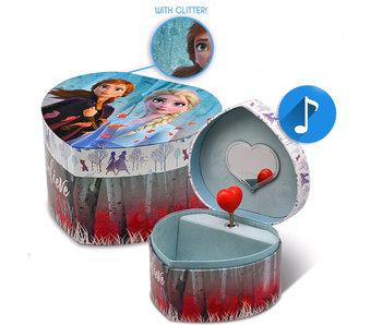 Disney Frozen Boîte à musique / boîte à bijoux en forme de coeur Believe the Journey