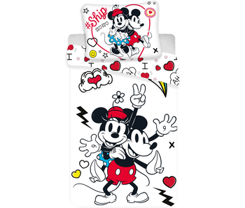 Disney Minnie Mouse Dekbedovertrek Retro Heart 140 x 200 cm