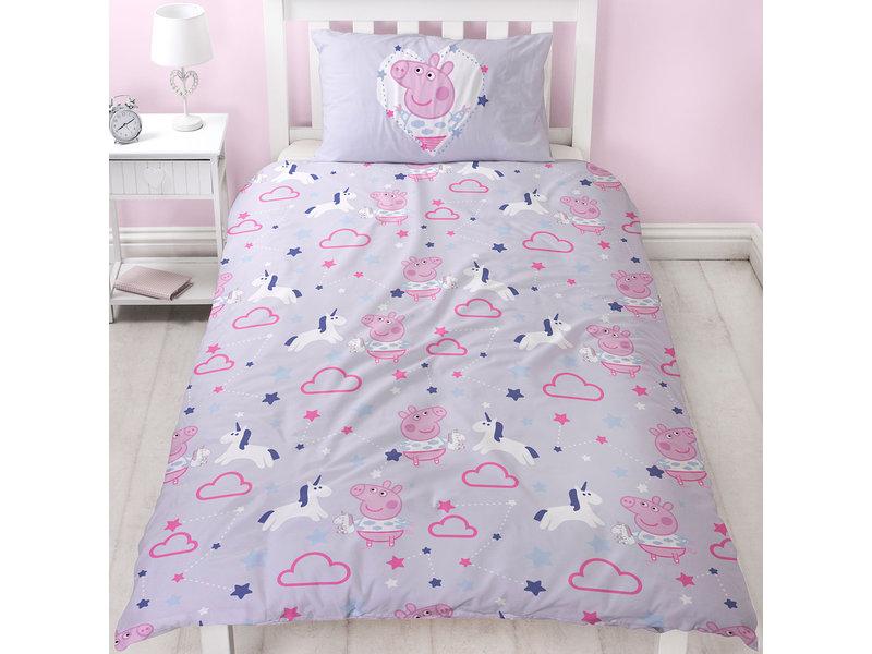 Peppa Pig Sleep - Duvet cover - Single - 135 x 200 cm - Purple