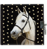 Animal Pictures White horse - Diary - 13.5 x 13 cm - Including clasp
