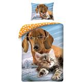 Animal Pictures Cat & Dog - Duvet cover - 140 x 200 cm - Multi