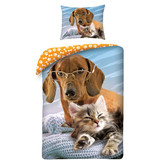 Animal Pictures Katze & Hund - Bettbezug - 140 x 200 cm - Multi