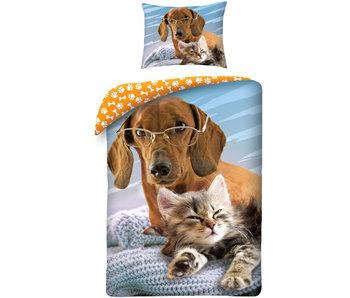 Animal Pictures Dekbedovertrek Cat & Dog 140 x 200 cm