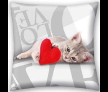 Valentines Sierkussen Sweet Cat 40x40 cm