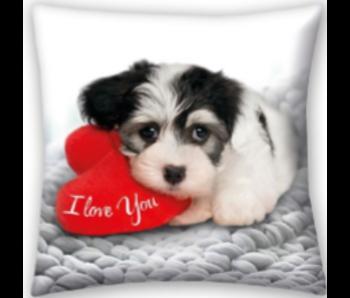 Valentines Sierkussen Sweet Dog 40x40 cm